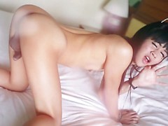 Cute petite Thai ladyboy sucks on white dick til it cums