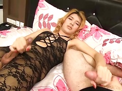 Lisha in a mutual masturbation session. Lisha strokes her cock while giving the camera guy a handjob. She's wearing a sheer bodysuit and can't keep her eyes off the guys dick. Lisha continues to stroke as she licks the guys ass, the dirtiness of rimming m