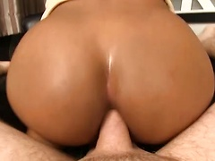 Ploy takes off her panties for a hot creampie. First Ploy slides up her miniskirt just enough to show an upskirt view of her pantie bulge. Out flips Ploy's sweet stick and as she strokes she's presented with a hard cock. Ploy gives a deep throat blowjob w