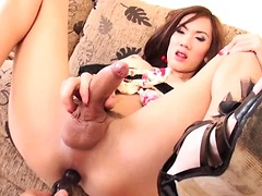 Ladyboy A's beautifully wrinkled asshole and BIG cock in her girlfriend dress! A's slim legs are gorgeous in high heels. A lifts her dress and shows her small buns. A's stick is busting out of her red thong panties. Pulling the panties aside you can see h
