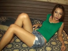 Noy is the definition of a Ladyboy spinner and spins her tight little ass to a creampie finish