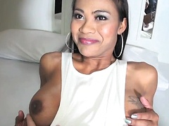 Big cock Jasmine fucks a guy POV! Admire the incredible rod of this hung Ladyboy as she takes control. Jasmine gets a handjob and turns over for insertion of a black buttplug. Her cock is THROBBING and she prepares the guys ass for fucking.