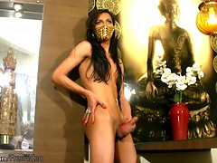 Long hair femboy with small tits shoots huge load of jizz