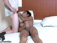 Exotic ladyboy pulls out a monstecock and sucks cock in POV