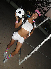 Fit and flirty Ladyboy Marry shows her soccer balls outside - Asian ladyboys porn at Thai LB Sex