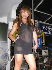 Cheeky pool playing Ladyboys at Pook Bar in Pattaya
