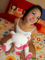 Teen Ladyboy May loves her teddy bear friend