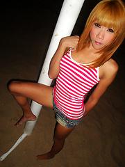 Outside with demure and petite LB amateur Nan - Asian ladyboys porn at Thai LB Sex
