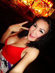 Ladyboy May outside at night and loves her boyfriends cock