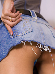 Ladyboy Paris shows her thong bulge in short denim skirt - Asian ladyboys porn at Thai LB Sex