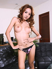 Exotic transsexual Donut posing in sexy dress - Asian ladyboys porn at Thai LB Sex