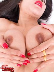 Pretti Enjoys Stroking Her Cock! - Asian ladyboys porn at Thai LB Sex