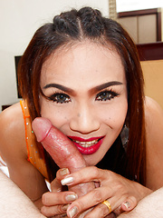 Orange Sheer Pushed in Creampie - Asian ladyboys porn at Thai LB Sex