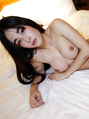 Petite 18yo Thai ladyboy get cum covered by big white cock - Asian ladyboys porn at Thai LB Sex