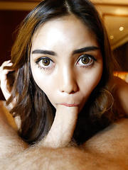 20yo pretty Thai ladyboy gets face full of cum from big white cock - Asian ladyboys porn at Thai LB Sex
