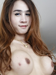 20 year old busty Thai ladyboy sucks and fucks white cock dry and get cum on her face - Asian ladyboys porn at Thai LB Sex