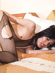 Slutty Ladyboys rips her stockings for intense dildo worship - Asian ladyboys porn at Thai LB Sex