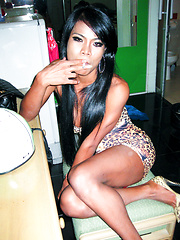 Ladyboy Paeng smokes and drops a creamy bareback load