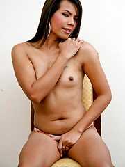 Busty asian tranny stroking her cock before camera - Asian ladyboys porn at Thai LB Sex