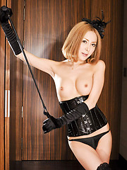 Sexy tgirl in black corset and boots strips and jerks - Asian ladyboys porn at Thai LB Sex