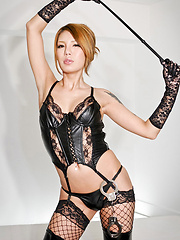Hot ladyboy in lace and leather - Asian ladyboys porn at Thai LB Sex