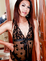 Horny slim ladyboy posing in sexy lingerie