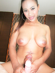 Ladyboy with big cock gets fucked bareback - Asian ladyboys porn at Thai LB Sex