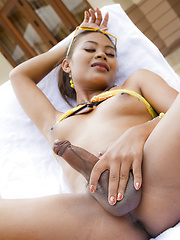 Shemale stroking her huge wet cock - Asian ladyboys porn at Thai LB Sex