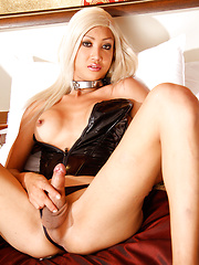 Hung blonde tranny in latex suite - Asian ladyboys porn at Thai LB Sex