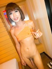 Bareback piss and cum - Asian ladyboys porn at Thai LB Sex