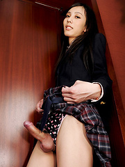 Chuling is a cross-dressing cutie with very natural beauty. Dressed as a slutty school girl today, Chuling wants to stay home and study human anatomy instead by jerking herself off! - Asian ladyboys porn at Thai LB Sex
