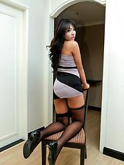 Teen ladyboy's cock explodes as she wanks - Asian ladyboys porn at Thai LB Sex