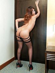 Horny ladyboy jerks off in silky stockings - Asian ladyboys porn at Thai LB Sex