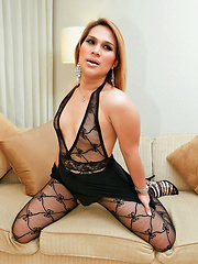 Chubby ladyboy in body stocking wank session - Asian ladyboys porn at Thai LB Sex