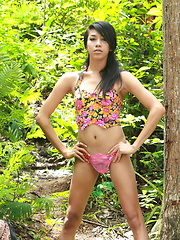 Young and well hung Ladyboy walking naked in a forest - Asian ladyboys porn at Thai LB Sex