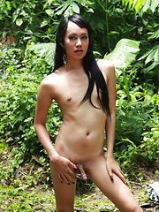 Filipino ladyboy stripping in a forest to flash her hard cock and her willing butt - Asian ladyboys porn at Thai LB Sex