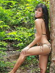 Very sexy Filipina ladyboy flashing her hard dick in a tropical forest - Asian ladyboys porn at Thai LB Sex