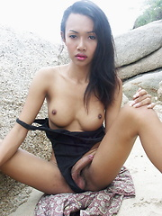 Cute busty Thai cutie playing with her cock outdoors until shooting her load - Asian ladyboys porn at Thai LB Sex