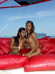 Three cute ladyboys guide us in a tropical cruise in the south of Thailand - Asian ladyboys porn at Thai LB Sex