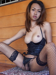 Busty ladyboy spreading her ass cheeks and beating her meat till cuming - Asian ladyboys porn at Thai LB Sex