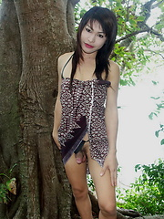 Hot ladyboy flashing her rock hard cock outdoors - Asian ladyboys porn at Thai LB Sex