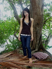 Very hot Thai ladyboy flashing her yummy love tools outdoors