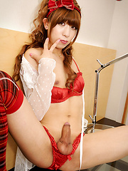 Yuko hails from the Saitama Prefecture but now lives and works in Tokyo for the same newhalf escort agency as two other SMJ models Fuuka and Serina. - Asian ladyboys porn at Thai LB Sex