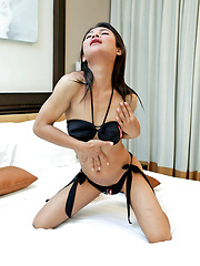 Young, hung ladyboy Jooy gets rock hard - Asian ladyboys porn at Thai LB Sex