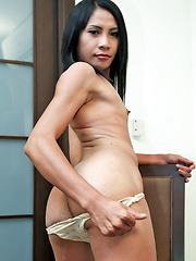 Hairy ladyboy whacks off until cum explosion - Asian ladyboys porn at Thai LB Sex