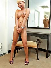 Hot blonde Thai tranny loves jerking off - Asian ladyboys porn at Thai LB Sex