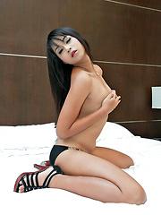 sexy young ladyboy masturbates in the nuddy - Asian ladyboys porn at Thai LB Sex