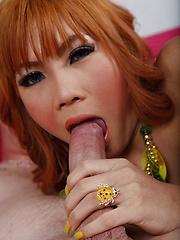 Ladyboy Pammy Covered in Spunk - Asian ladyboys porn at Thai LB Sex