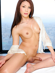 Making her third appearance on the site today, 20-year old Nagoya babe Yuria Misaki is back and treats to a splendid show of self satisfaction. Stripping down to just her heels she teases us with her killer curves before assuming the position and busting - Asian ladyboys porn at Thai LB Sex