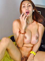 Tyra: White Fishnet 1 - Asian ladyboys porn at Thai LB Sex
